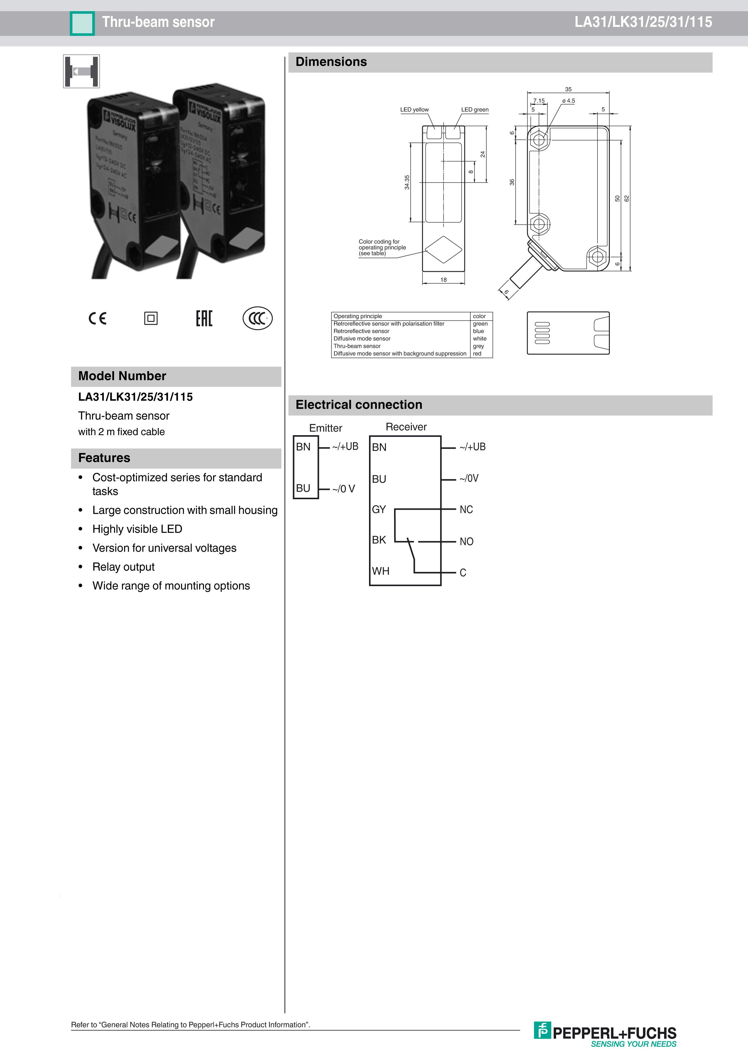 倍加福LA31-LK31-25-31-115光电传感器
